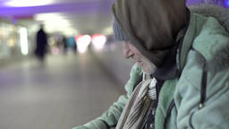 Close-up of a beggar asking for money Footage