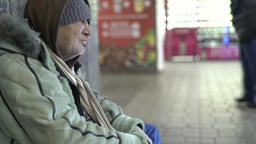 Poverty. Poor man is a tramp. Beggar homeless Footage