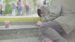 The urban beggar is sleeping Footage