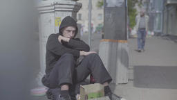 Beggar tramp homeless in the street Footage