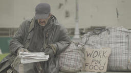 "The homeless beggar next to the poster ""Work for food"" Footage"