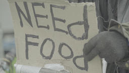 "Poster ""Need food"" in the hands of a homeless beggar Live Action"