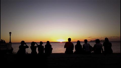 People Enjoying The Sunset Footage