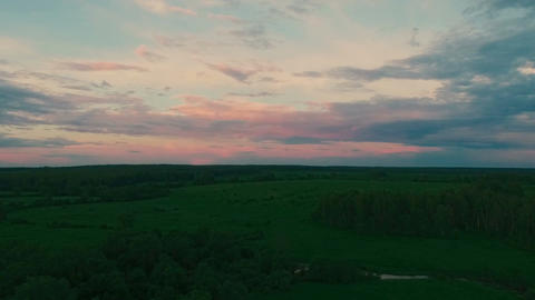 Drone Flight to Sunset, field, forest, river ビデオ