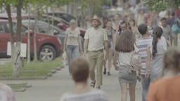 People on a crowded street. Crowd. Slow motion Stock Video Footage