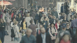 Crowded street. People in the crowd. Crowd. 4K Footage
