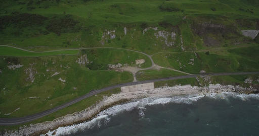 Aerial, Coast Road, Coastal Line, Northern Ireland - Native Version Footage