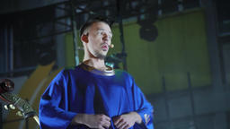 The actor plays a role on the stage. theater. opera ビデオ