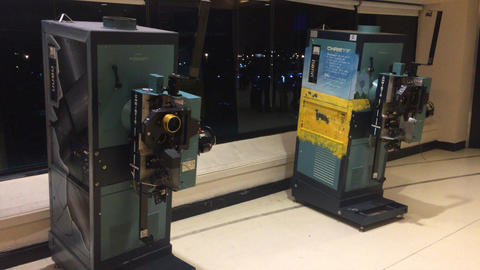 Imax cinema celluloid projector in display Stock Video Footage