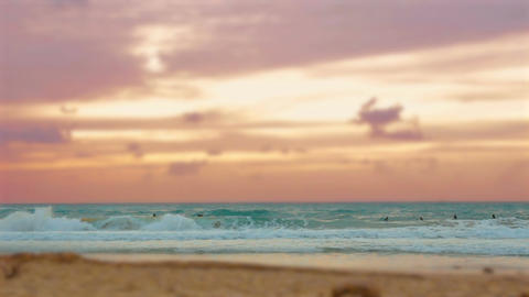 Cinemagraph of group of surfers surfing in the mediterranean sea at sunset in Pa Filmmaterial