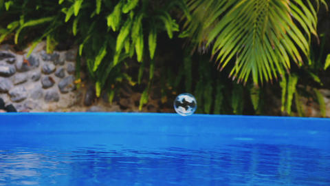 Cinemagraph of soap bubble fly over a swimming pool water Bild