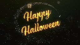 Happy Halloween Greeting Text Made from Sparklers Light Colorfull Firework Animation