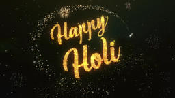 Happy Holi Greeting Text Made from Sparklers Light Colorfull Firework Animation