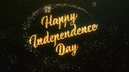 Happy Independence Day Greeting Text Made from Sparklers Light Colorfull Firewor Animation