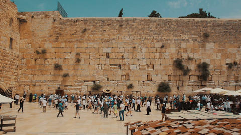Cinemagraph of birds fly at the Western wall in the old city of Jerusalem Israel Footage