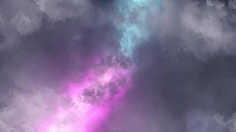Blue Purple Lightnings Behind Clouds Animation Motion Graphic Background Animation