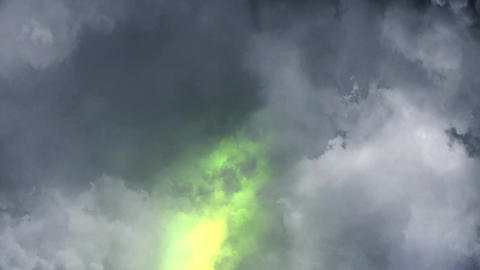 Green Lightnings Behind Clouds Animation Motion Graphic Background Animation