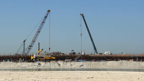 Building concrete bank at man-made island, complete falsework Footage