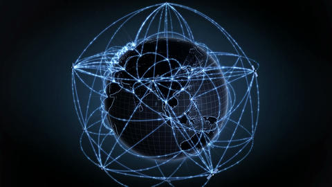 Growing Global Network. Internet Concept. Blue Version. 4K 1