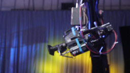 The camera moves on a crane in the Studio Footage