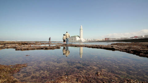 View on seafront of Grande Mosquée Hassan II in Casablanca Footage