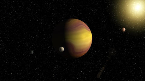 Large gas giant planet with two moons and a smaller planet orbiting nearby star. Image