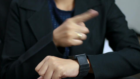 Close up shot hands of woman using smart watch 003 Footage