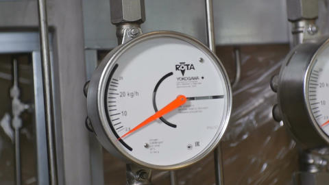 Closeup Motion Past Modern Exact Pressure Meters Footage