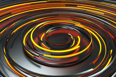 Black concentric spiral with orange glowing elements on black ba Photo