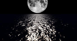 A 4K White colored moon setting slowly over the ocean at night with the color of CG動画素材