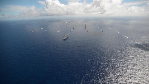 Aerial video of fleet of warships during rim of the pacific exercise Archivo