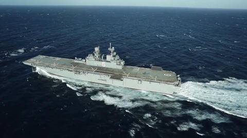 Future amphibious assault ship uss america lha 6 sails the gulf Footage