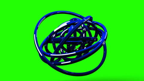 Blue Circle Abstract On Green Chroma Key Animation