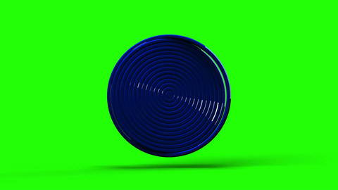 Loop Able Blue Circle Abstract On Green Chroma Key Stock Video Footage