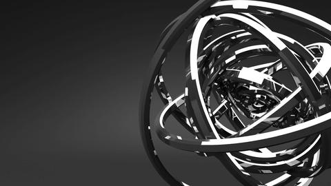 Loop Able Silver Circle Abstract On Black Text Space Stock Video Footage