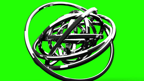 Loop Able Silver Circle Abstract On Green Chroma Key Animation