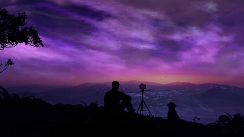 The Photographer Shoots A Magical Sunrise In The Mountains Stock Video Footage