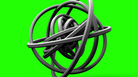 Loop Able White Circle Abstract On Green Chroma Key Stock Video Footage