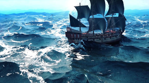 Old pirate ship in the ocean. Seamlessly Loopable CG動画素材