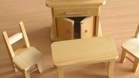 Wooden doll furniture table, chairs and buffet Footage