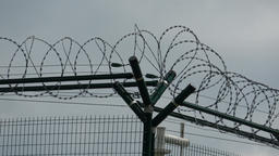 Security fence with a barbed wire with grey sky. Fence with a barbed wire Footage