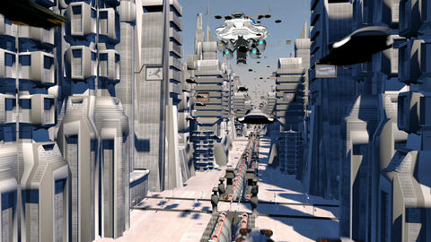 Cybernetic City with Futuristic Buildings and flying cars Animation