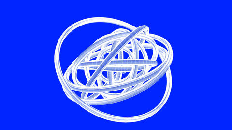 White Wire Frame Circle Abstract On Blue Background Animation