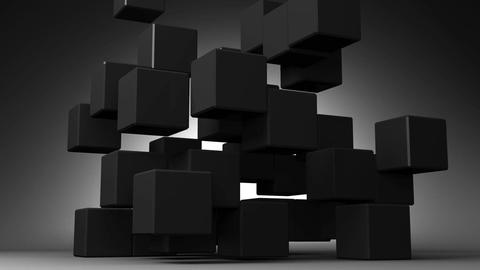 Loop Able Black Cube Abstract On Black Background Stock Video Footage