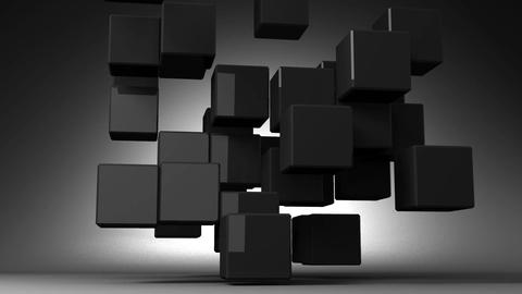 Loop Able Black Cube Abstract On Black Background Animation