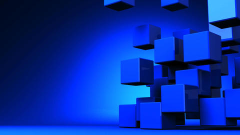 Loop Able Blue Cube Abstract On Blue Text Space Stock Video Footage