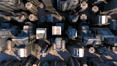 Cybernetic City with Futuristic Buildings. Loopable Animation