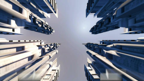 Cybernetic City with Futuristic Buildings and flying cars. Loopable Animation