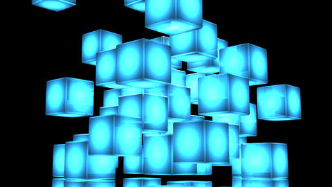 Loop Able Blue Shining Cube Abstract On Black Background Stock Video Footage