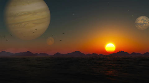 Sunset on an alien planet. A sunset in an alien planet Animation